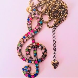 NEW! CRYSTAL TREBLE CLEF SWEATER  NECKLACE-BRONZE